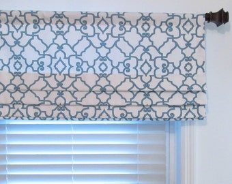 custom made faux roman shade fynn snowy blue by supplierofdreams. Black Bedroom Furniture Sets. Home Design Ideas