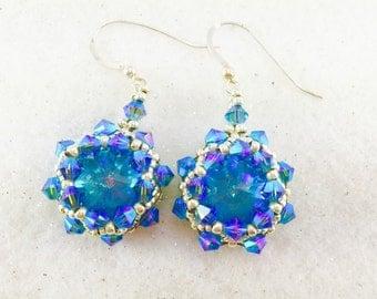 Blue Swarovski Crystal Beaded Earrings, Crystal Earrings, Crystal Rivoli Earrings, Beaded Earrings, Translucent Crystal Earrings