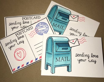 Sending love your way -Snail Mail- mini cards