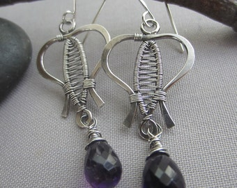 Amethyst Earrings/ Silver Wire Earrings with Amethyst/ Amethyst dangle earrings/ Oxidized Silver Earrings/ Artisan Amethyst Earrings/ Purple