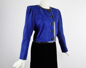 Vintage YVES SAINT LAURENT Sz 42 Royal Blue Suede and Leather Trim Cropped Buttoned Bolero Jacket