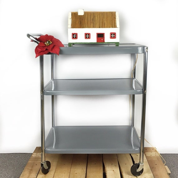Vintage Bar Cart Rolling Kitchen Cart Upcycled Metal Cart
