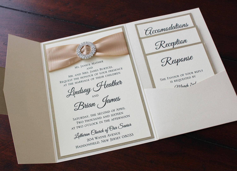 Ivory and Champagne Metallic Himalaya Pocketfold Wedding Invitation ...