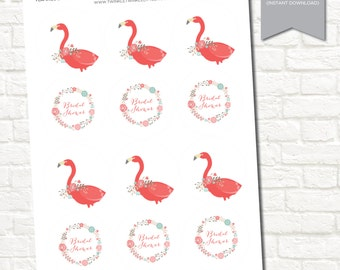Flamingo Bridal Shower Digital Printable Party Tags Instant Download