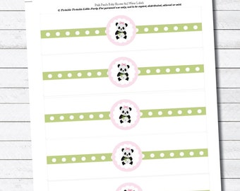 Panda Girl Baby Shower Digital Water Bottle Digital Labels - INSTANT DOWNLOAD