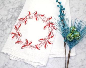 Sale - Holiday Tea Towel - Christmas Towel - Screen Printed Cotton Flour Sack Towel - Light Bulb Wreath - Dishcloth - Kitchen Towel