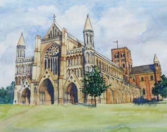 St Alban's Cathedral, UK Print From Original Watercolour
