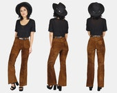 LEVI Strauss SUEDE Leather Bell Bottom Pants Vtg 60's Cognac Brown High Waist FLARED Wide Leg Hippie Gypsy Western Jeans - Extra Small/Small