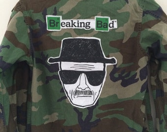 Camouflage Field Jacket with BREAKING BAD t-shirt image patch on Back
