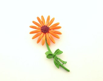 SALE Vintage Orange Flower Brooch - Daisy Pin - Collectible Flower Power Jewelry