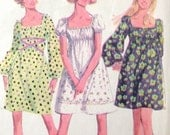 Mini Dress Pattern Easy Boho Pullover Raglan Sleeve Elastic Waist and Neck Retro Mod McCalls 9715 Sz 8 Small