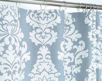 Grey Blue Damask Shower Curtain - 72 x 72