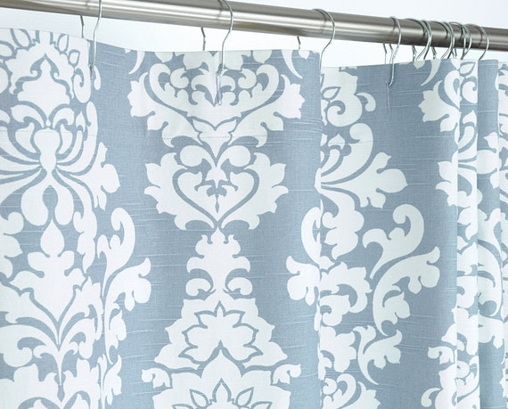 Grey Blue Damask Shower Curtain 72 X 72 By PondLilly On Etsy