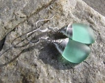 sea glass ear rings minty blue green seaglass beach glass jewelry  earrings-bridesmaid earrings- teardrop  earrings