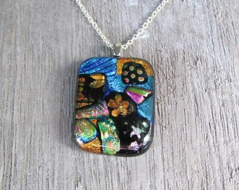 Fused Glass Pendant on silver chain necklace  Mosaic Dichroic multi colored rectangle glass jewelry