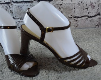 vintage 1970s Socialite womens strappy leather sandals 7.5N