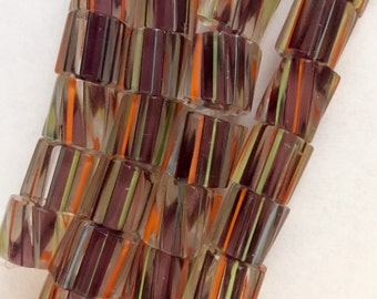 Multicolored Cane Beads 10 mm x 10 mm x 10 mm 19 Beads