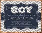 Oh BOY Baby Shower Invitation, Baby Boy Shower Invitation, Navy, Chevron Stripes, BOY, It's a Boy, gray, stripes, navy, BOY, 1596