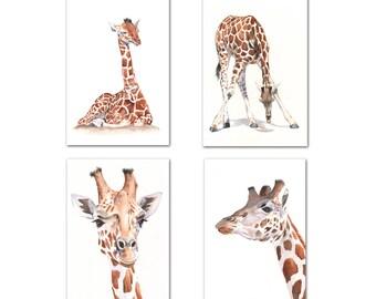 Giraffe set of four watercolor prints, 5 by 7 size, jungle animal nursery print, african animal nursery print, giraffe painting