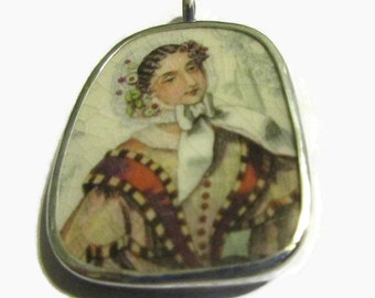 Broken China Jewelry, Godeys Lady Pendant,Sterling Silver Necklace,Upcycled Jewelry, Southern Bell, Victoriana