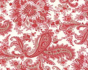 Miss Scarlet by Minick & Simpson - Paisley/Floral - White/Red - Moda 14810 12