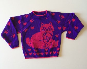 1980's Kitty Paw & Hearts Sweater (6x)