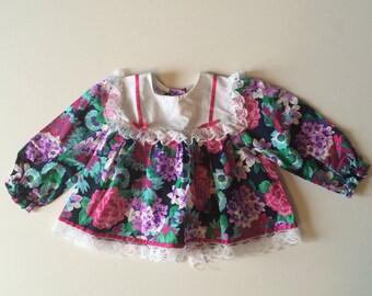 80's Floral & Lace Top (24 months)