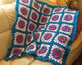 """Baby or Lap Blanket Afghan - Hand Crochet Textured Turquoise Pink - Car Stroller Crib Stadium Wheelchair Hospice - 39""""x39"""" - Item 4727"""