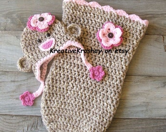Newborn Girly Sock Monkey Hat w/ Pink Flowers & Matching Snuggle Sack / Cocoon