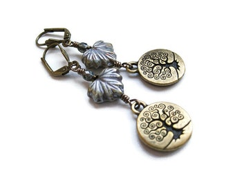 Autumn Tree of Life Earrings in Brass. Klimt Inspired. Everyday Earrings. Wicca Pagan Yggdrasil