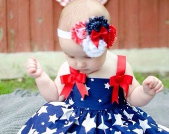CLEARANCE Patriotic Princess Red Bow Headband & Barefoot Sandals baby toddler girl USA 4th of July White Blue American Holiday Photo Prop