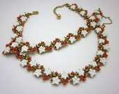 Trifari Necklace Set - Trifari Molded Glass Necklace - Trifari Braelet Set - White Glass Leaves - Vintage Trifari