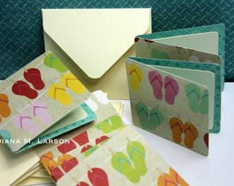"""Tiny envelopes, Set of 8 cards 2.5"""" x 2.5"""" Flip Flop cards with handmade envelopes with peel and seal closure"""