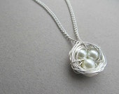 Birds Nest Necklace White Pearl with Silver Wire, Necklace, Customization available