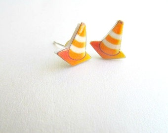 Caution Cone Stud Earrings Construction