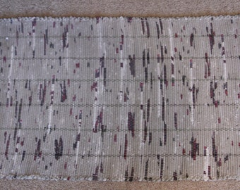 Handwoven Rag Rug - Taupe with Dark Green & Cranberry - 44 inches....(#119)