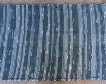 Handwoven Rag Rug - Spruce Green with black, white and light green - 47 inches....(#127)