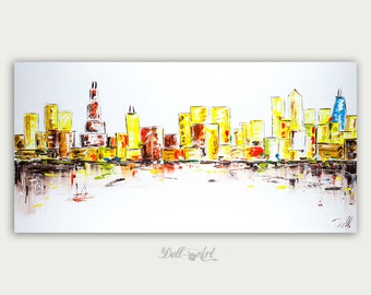 Colorful Chicago Cityscape, Oil Painting, Abstract & Modern Skyline, Impasto,  Artwork, Fine Art, Home Decor