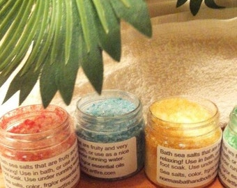 bath salts pack of 4, bath, beauty, sampler pack, gifts, normas bath