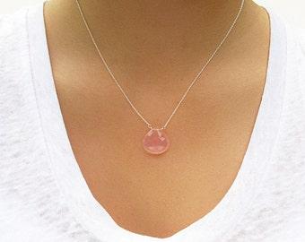 Rose Quartz Gemstone Necklace - Gemstone Necklace - Rose Quartz Jewelry