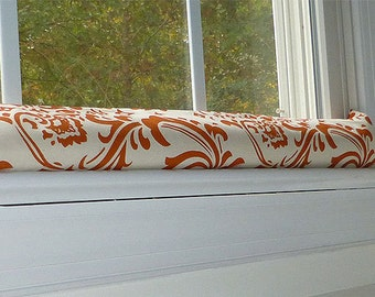 Draft Stopper - Door Draft Stopper -Cold Weather draft stopper -  Door Drafts - Damask Sweet Potato Home Decor- Fireplace Cold Air Dodger