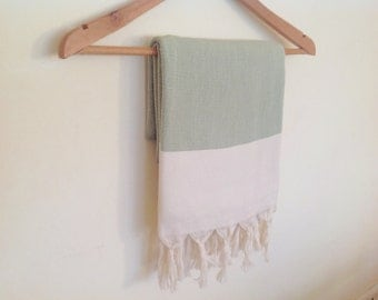 Elegant Organic Turkish Towel, Peshtemal, bath, spa, Natural soft cotton,  Christmas Gift, Special Production, Handwoven , Light green