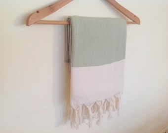 Elegant Organic Turkish Towel, Peshtemal, bath, spa, Natural soft cotton,  Christmas Gift, Special Production, Handwoven , Light green