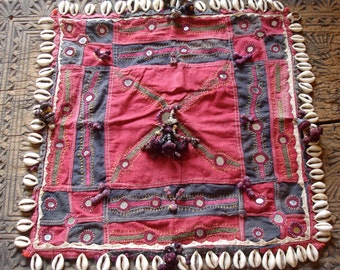 Banjara Indian mirror embroidery square with shells and tassles
