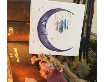 Amethyst - Original Acrylic Painting of a Crystal Adorned Crescent Moon - Victorian Gothic Autumn Gemstone