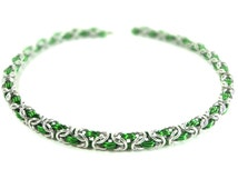 Green And Silver Byzantine Weave Chainmaille Necklace Handcrafted