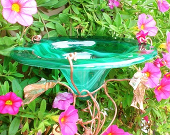Bird Feeder, UNISEX GIFT, Glass, Garden Butterfly Feeder, stained glass, copper, Emerald Green