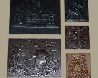 Vintage Mold Forms for Metal Foil / Clay - Lot of 5 Molds - Creepy Clown / Elephant / Owl / Antique Car / Fish & Sealife - Retro Art Supply
