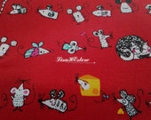 Cat mouse and cheese, on red, 1/2 yard, pure cotton fabric