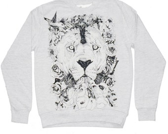 Sweater - Floral Lion- Heather Grey Round Neck Sweater